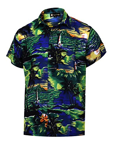 Virgin Crafts Men's Button Down Hawaiian Short Sleeve Small Palm Print Summer Vacation Shirt