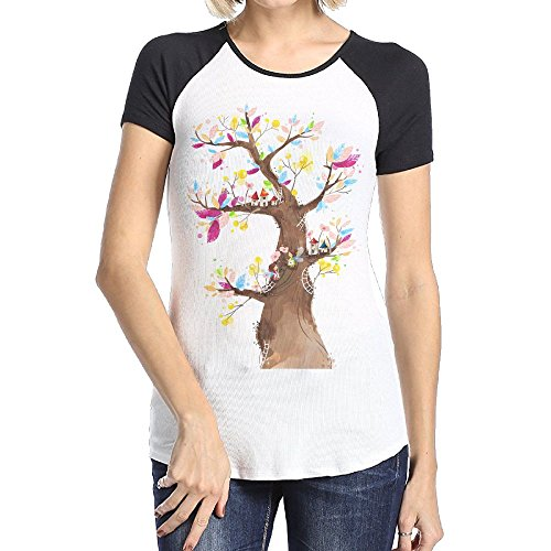 Askdji2 Women's Two-Toned Tshirts-Funny Colored Tree - Boots Jacobs Mark