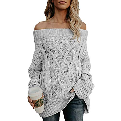 Manche Clair Hiver Femmes Pull Sweater Chemisier Over Blouse Pull Tunique Casual Ample laamei Automne Epaules Nues Pull Tricot Longue Gris IRzSqH