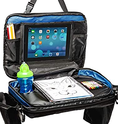Kids Car Seat Travel Tray: Toddler Table & Desk Storage Organizer for Activities. Carseat Lap Activity Trays with Cup Holder & Accessories for Toddlers Play Toys & Road Trip/Airplane Fun!