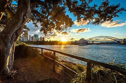 (Sydney Opera House and Sydney Harbor Bridge at Dusk Photo Art Print Poster 18x12 inch)