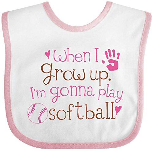Inktastic - Future Softball Player Girls Baby Bib White/Pink fa17