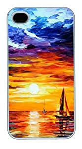 iPhone 4S Cases and Covers,Painting Of Boats In The Sea At Sunset Custom Slim Hard Case Snap-on PC Plastic Case Cover Shell for Apple iPhone 4S/4 White