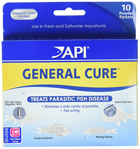 (API GENERAL CURE Freshwater and Saltwater Fish Powder Medication 10-Count Box)