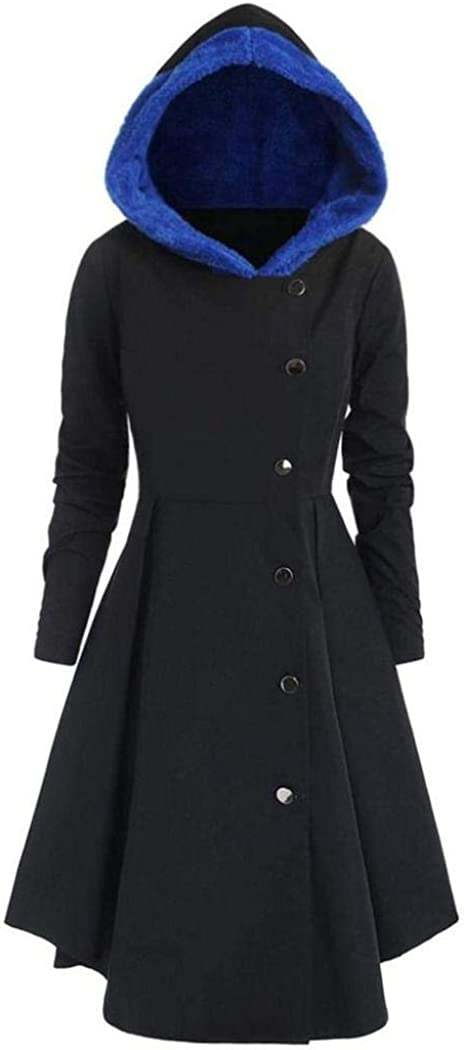 Countia Vintage Womens Long Hooded Trench Coat Jacket Outwear Lapel Wrap Swing Winter Long Overcoat