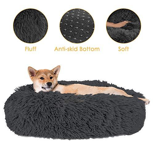 SlowTon Casa Comoda para Mascotas Donut Cuddler Nest Cojin de Gato de Felpa Suave y calido para Gatos con Esponja acogedora Fondo Antideslizante Lavable a maquina