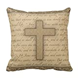 Home D¨¦cor Cross W/ Bible Verses Throw Pillow Stylish Chic Pillowcases Zippered Pillow Shams 18X18 Inch