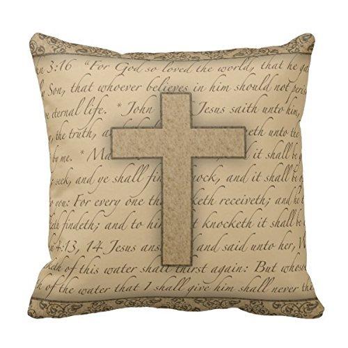 Home D¨¦cor Cross W/ Bible Verses Throw Pillow Stylish Chic Pillowcases Zippered Pillow Shams 18X18 Inch