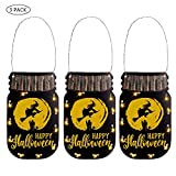 MJ PREMIER Halloween Hanging Sign Door Decoration Card with String Light 3 Pack 10 LEDs Warm White Battery Powered Wall Sign Indoor Outdoor for Haunted House, Party, Garden, Home Decor