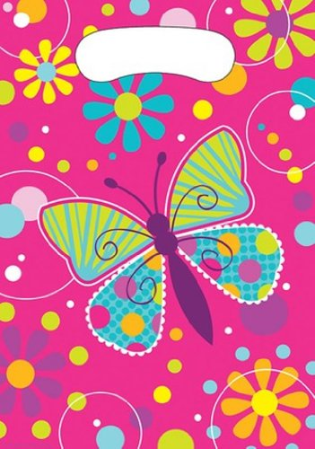 8-Count Party Loot Bags, Butterfly Sparkle -