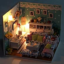 HJL- New DIY Green LED Princess Bedroom Model DIY Handmade Wooden Doll House