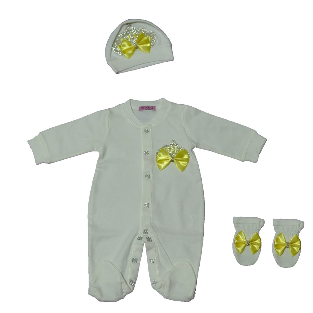 /%100 Soft Thick Cotton Newborn Baby Girl Crown Jewel Yellow Layette 3 Pieces Set 0-3 Months