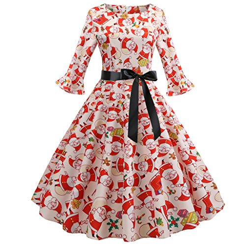 HTDBKDBK Christmas Dress, 2018 Hot Sale Women Fashion 3/4 Sleeve O Neck Christmas Santa Claus Printing Vintage Dress