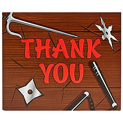 Ninja Warrior Party Supplies - Thank-You Notes (8) by ...
