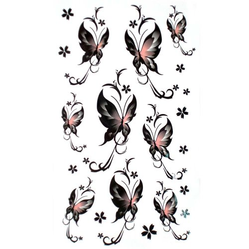 GGSELL Fake waterproof small butterfly tattoo stickers black sexy fashion ()