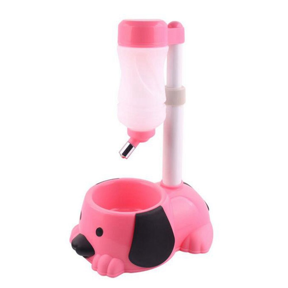 QWERT Co. Wang Pet Automatic Waterer Hanging Water Bottle Liftable Cat Dog Standing Water Dispenser Automatically Feeding Water Height Adjustable,Pink