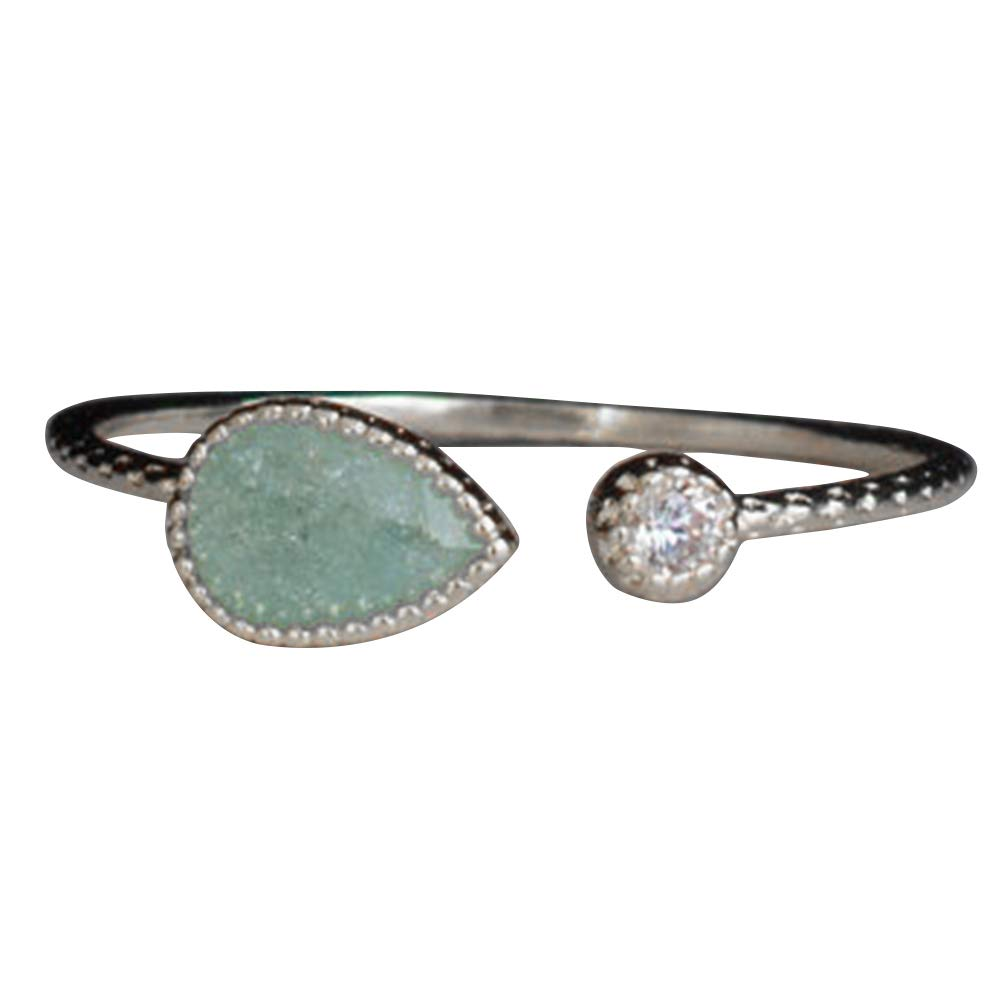 Slendima Fashion Water Drop Faux Turquoise Open Ring Adjustable Women Wedding Party Jewelry Silver