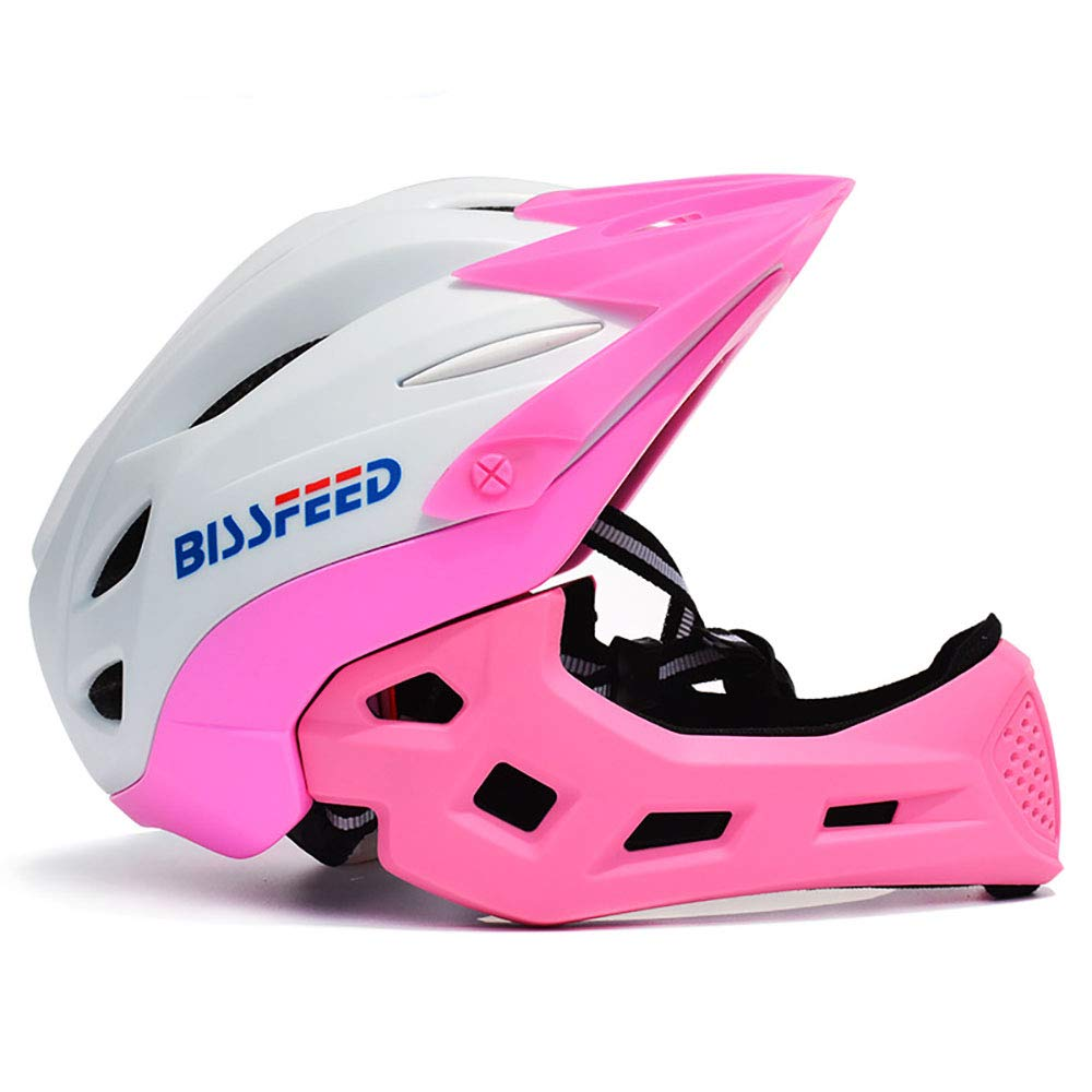 Whitepink ZHYY Bike Helmet kid Full Covered Face predection Detachable Suitable for Balance Bike Cycling Motocross MTV BMX Breathable Safety Multicolor,blueegreen