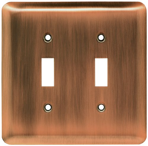 Franklin Brass 64090 Stamped Steel Round Double Toggle Switch Wall Plate/Switch Plate/Cover, Antique Copper (Brass Toggle Double Switch)