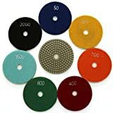 Diamond Wet 7-Step Polishing Sanding Grinding Pads 7 Pcs Set for Granite Marble Stone 4 Inch Grit 50-3000