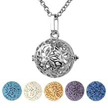 Top Plaza Aromatherapy Essential Oil Diffuser Necklace Antique Silver Locket Pendant Necklace W/5 Dyed Lava Stones