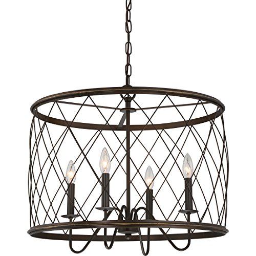 Quoizel RDY2823PN Dury Cage Drum Pendant Lighting, 4-Light, 240 Watts, Palladian Bronze (20