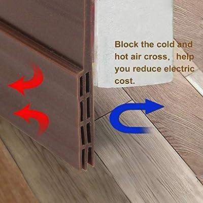 Burlete para puerta sello Weather para desmontar – j-deal adhesivo puerta inferior barrido insonorización Kit de puerta, puerta proyecto de tope para puertas y ventanas, 39 pulgadas de goma de silicona sin