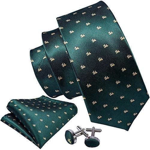 Designer Cufflinks - Barry.Wang Designer Ties Men Pocket Square Cufflink Green Dogs
