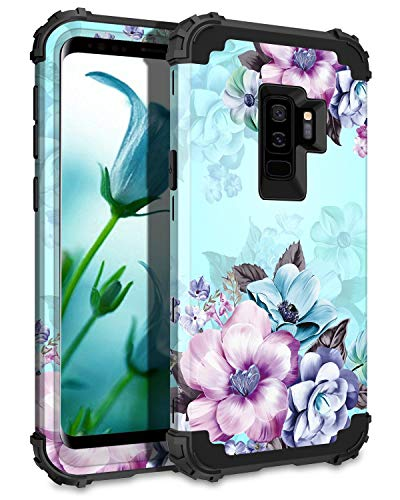 Casetego Compatible Galaxy S9 Plus Case,Floral Three Layer Heavy Duty Hybrid Sturdy Armor Shockproof Full Body Protective Cover Case for Samsung Galaxy S9 Plus-Blue Flower