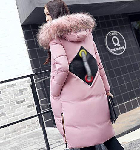 Cremallera Acolchada Encapuchado Parkas Abrigos Cómodo Huixin Casual Chaqueta Cuello Piel Largos Mujer Modernas Sintética Pluma Color Sólido Plumas Invierno Pink Otoño Invierno Larga De Manga ZqX41Pgqw