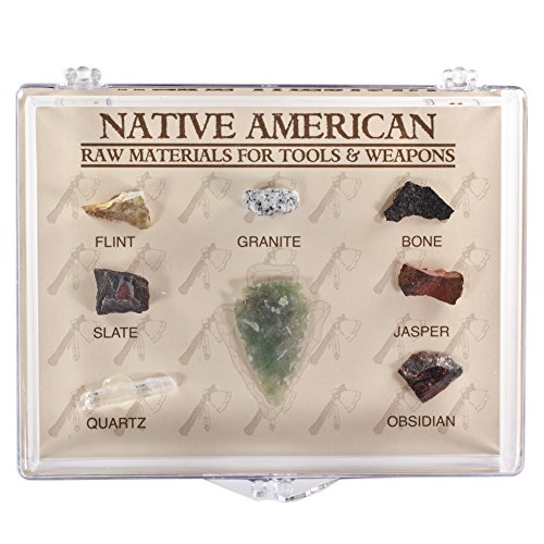 Fantasia Boxed Collection: Native American Raw Materials for Tools and Weapons in Presentation Case - Set #10 - Educational Natural Rock, Fossil, Gemstone & Mineral Specimens for The Classroom