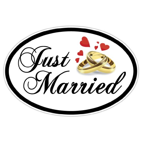 VictoryStore Magnets - Just Married Oval Car Magnet, Set of 2, Size 18
