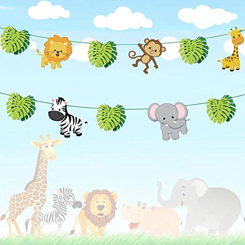 19pcs Jungle Animals Leaves Banner Home Decoration Woodland Garland Forest Theme Birthday Festival Party ()