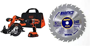 BLACK+DECKER 20V MAX Cordless Drill Combo Kit, 2-Tool with IRWIN Tools MARATHON Carbide Cordless Circular Saw Blade, 5 1/2-Inch, 18T Carded (BDCD220CS & 14011)