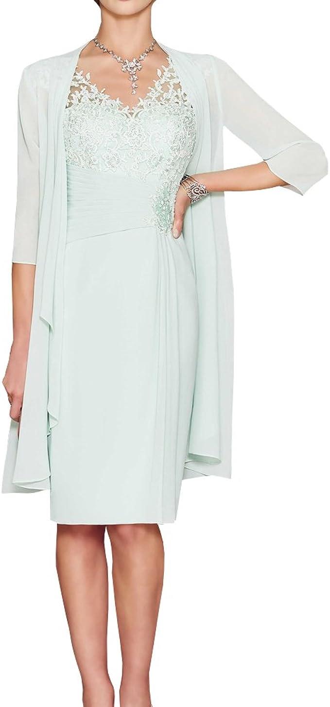 ShineGown Mutter der Braut Kleider Zwei Stück knielangen Sweetheart Plissee  Sicke Chiffon Lace Long Jacket
