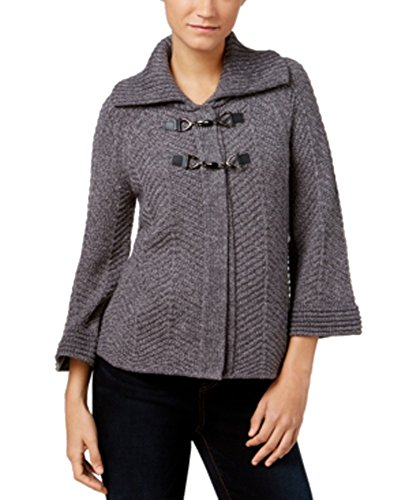 JM Collection Sleeve Wing-Collar Cardigan (Charcoal Heather, Large) from JM Collection