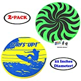 22'' Diameter Large Nylon Fabric Flying Disc Big Beach Frisbee Outdoor Sports Soft Saucers Assorted Designs with 2 GosuToys Stickers