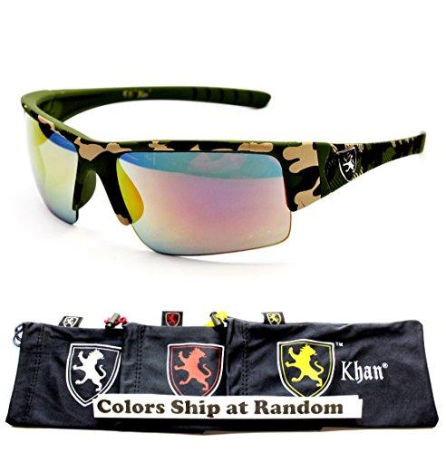 Logo Metal Aviator Shield Sunglasses (A77-kp Khan Turbo Sport Lion Logo Sunglasses (5325CAMO Green-Sunset Gold Mirror, UV400))