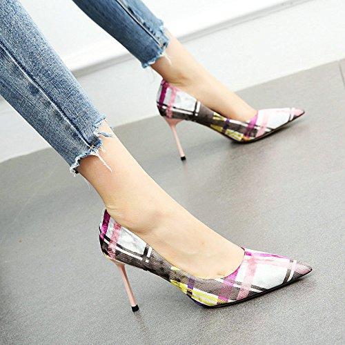 Acentuado coincidente C Europa Elegante Stiletto Enrejado YMFIE Zapatos Zapatos Trabajo Solo Color de Tacones Altos Sexy Moda qtfX44wc