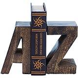 Benzara Wood Book End Pair with Wood Grain Design