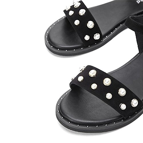 CJC Escarpins Sandales aux femmes Appartements Faible Talon Chaussures perle Dessus (Couleur : Marron, taille : EU38/UK5.5/CN38) Noir
