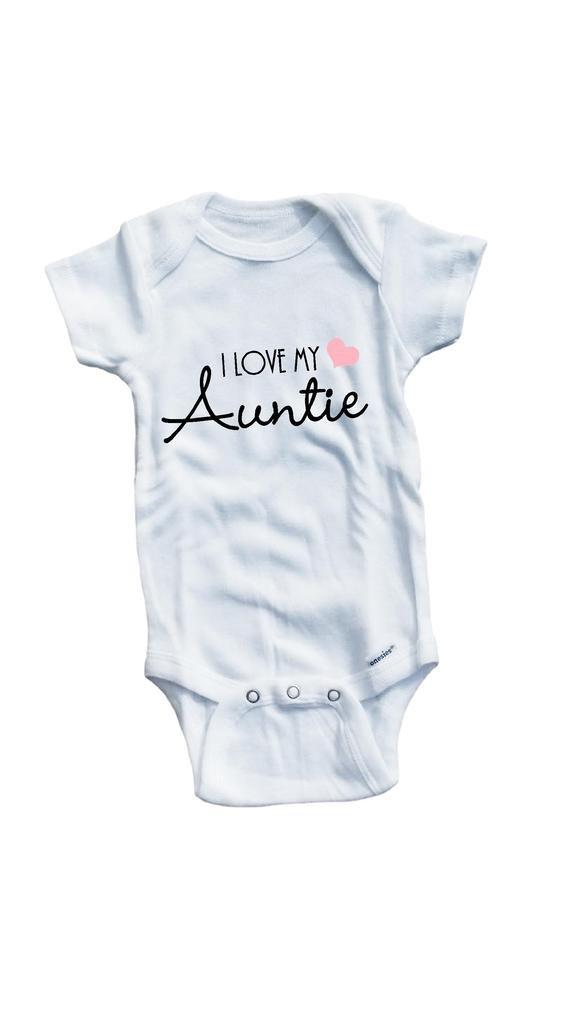 Baby Tee Time Girls' I love my Auntie One piece 3-6 Months White