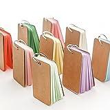 BinaryABC Study Cards, Mini Blank Flash Cards,Multicolor Card Kraft Paper with Metal Binder Ring,250 Pieces 5 Color (Random Color)