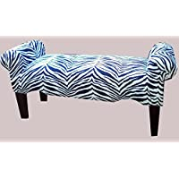 Zebra Black and White Stripes Rolled Arm Bedroom Bench