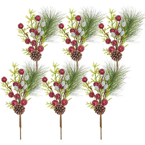 Valery Madelyn 6 Packs Christmas Picks with Pine,Red Berries Artificial Picks for Christmas Decorations and Home Decor