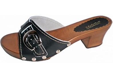 Marited Schwarz Damen Holz Leder Clogs Pantolette Sandalette (41) NVdu5awu8N