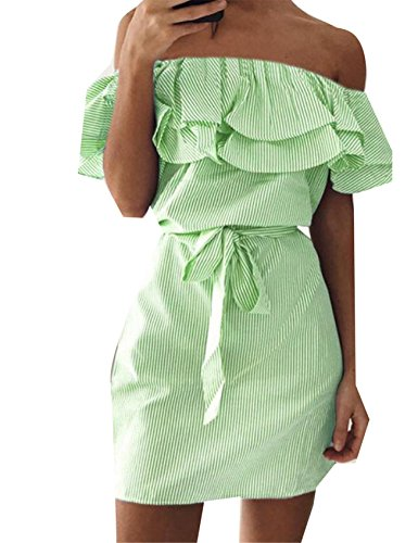Pinstripe The Off Women's Dress Green Jaycargogo Shoulder Flounced Belted Slim qxYZwTHw