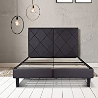 PrimaSleep 14 Inch Dura Metal Faux Leather Wood Bed Frame with headboard (Full, Brown)