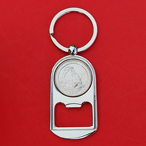 US 2014 Utah Arches National Park Quarter BU Uncirculated Coin Silver Tone Key Chain Ring Bottle Opener NEW - America the Beautiful