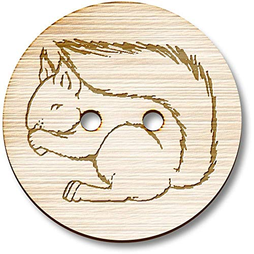 Azeeda 8 x 23mm 'Squirrel Eating' Round Wooden Buttons (BT00011380) ()